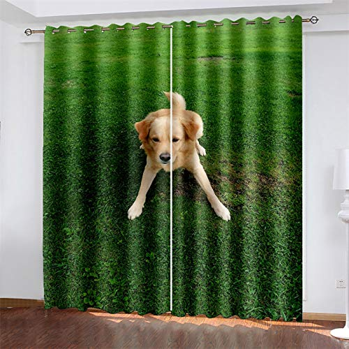 YUNSW 3D Digital Printing Curtains, Polyester Blackout And Noise Reduction Curtains, Suitable For Living Room And Bedroom, Dog Curtains With Perforations (Total Width) 264x(Height) 160cm