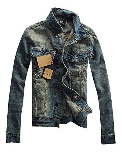 Denim Jacket para Hombre de Manga Larga Outwears Slim Fit Vintage Chaquetas Vaqueras M