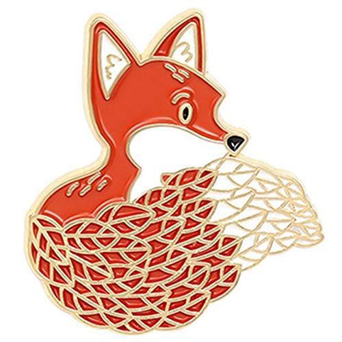 Broche de esmalte con diseño de oso de zorro y gato, erizo, bolsa de alfiler de solapa con diseño de animales de dibujos animados, regalo para niños y amigos, 3