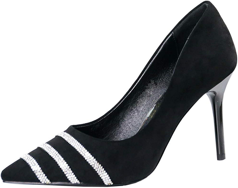 LBTSQ-Sexy Wasser Läuft Flachen Mund Dünne Sohle Hochhackigen Schuhe 9Cm Mode-Joker Spitze Aus Einzelnen Schuh.    Fein Verarbeitet    Verwendet in der Haltbarkeit