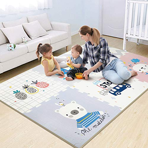 Bammax Play Mat Folding Playmat Waterproof Reversible Baby Crawling Mat Large Foam Floor Puzzle Playmat with Interlocking Tiles 079quot Thick Soft Tummy Time Mat for Kid Toddler Infant  6ft x 4ft