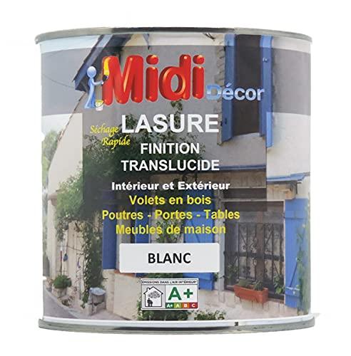 Midi Decor - Lasure blanc - UV protégé - Bois extérieur ou intérieur - Séchage rapide - 14m²/L - 1L