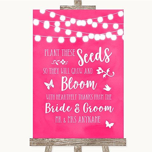Bruidsbord Poster Print Hot Fuchsia Roze Aquarel Lights Plant Zaden Favorieten kunnen volledig worden aangepast elke tekst of kleur - Perfect Venue Decoratie (A4) Medium