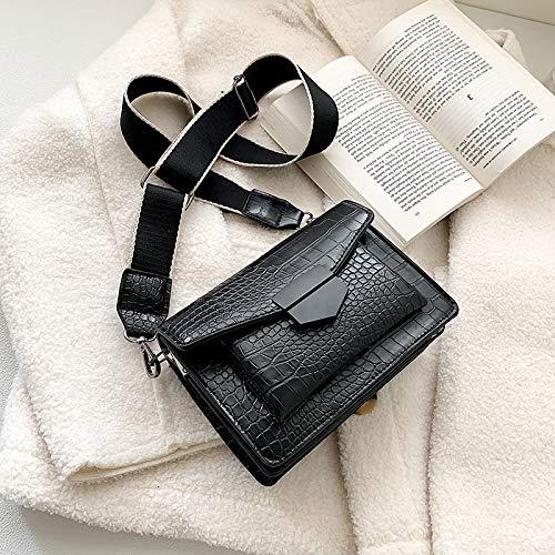 SAN-HAI 2020 - Mini bolso de mano para mujer, estilo sencillo, ancho para el hombro, bolso de mensajero, cartera SAN-HAI (color: Heise, tamaño: 19,5 x 14 x 6,5 cm)