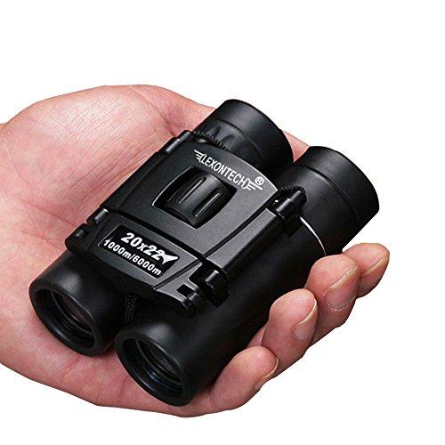 FELiCON Ligero Compacto Resistente al Agua 20 × 22 Luz Visión Nocturna Prismáticos para y al Aire Libre Portátil Plegable Mini Pequeño Bolsillo con Paño de Limpieza y Bolsa De Transporte