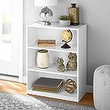 Mainstay' 3-Shelf Bookcase | Wide Bookshelf Storage Wood Furniture Bundle Set (White) (White, 3 Shelf)