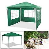 huigou HG® Gartenzelt Strandzelt Festzelt 3x3m grün Wasserdicht komplett verschließbar Camping...