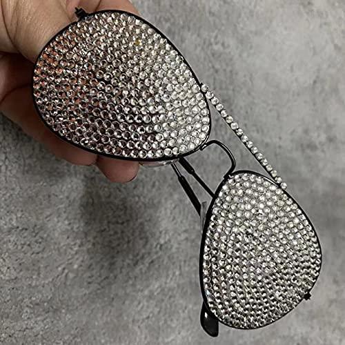 WOJING Cristal Diamante Oro Marco Vintage Gafas de Sol Gafas de Sol Mujeres de Lujo Rhinestone Hombres aviación Gafas ocasas oculos