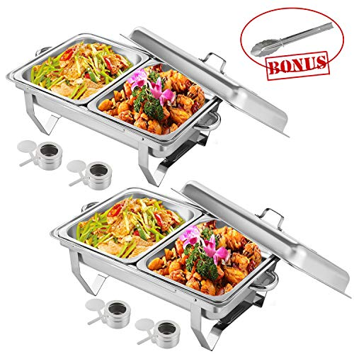 Weanas Chafing Dish 8 Quart Chafer Dish with Folding Frame Stainless Steel Rectangular Chafer Complete Set with 2 Half Size Pan(2 PCS)