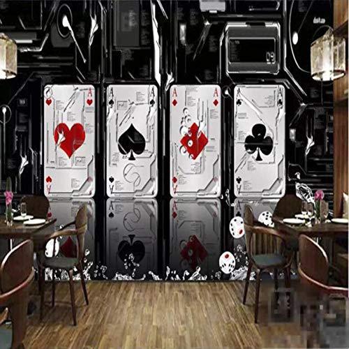 Poker Fototapete, Kinderzimmer, großes Wandbild Schach Mahjong Casino Thema Tapete, Kinderzimmer, 3D Glücksspiel Lotterie Shop Dekoration Wandbild