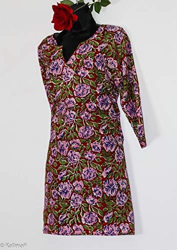 Kalima Tunika Kleid, Handdruck im Rosen Sommer Design der bayrischen Inderin, Maß-Anfertigung