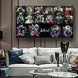 Abstracto Animal fumar Collage Pop Art lienzo pintura carteles e impresiones arte de pared para la decoración del hogar de la sala de estar 50x90 CM (sin marco)
