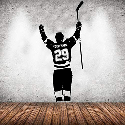 Pegatinas personalizadas de nombre y número de jugador de hockey Pegatinas personalizadas de vinilo de portería de hockey Pegatinas decorativas para habitaciones de niños pegatinas deportivas28x62 cm