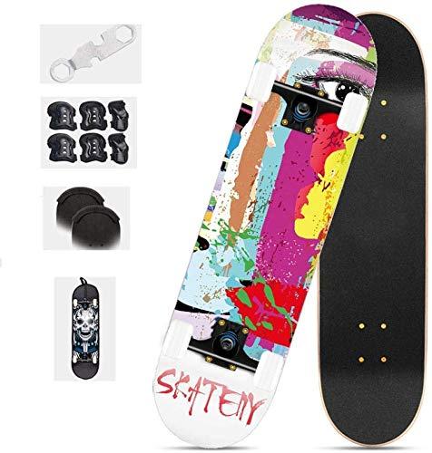 Mopoq Skateboard para Principiantes, 31'X8 Pro Double Kick Skateboard cóncavo, monopatín estándar Profesional, niño y niña para Adultos monopatín (Color : 2)