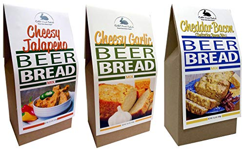 Rabbit Creek Beer Bread Mix Variety Pack of 3 – Cheesy Jalapeno, Cheddar Bacon & Cheesy Garlic Beer Bread Mix