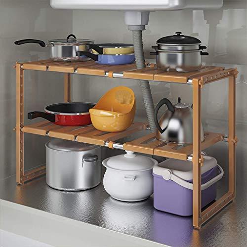 2 Tier uitbreidbaar onder de wastafel Organizer Rack, Home multifunctionele opslag rack voor keuken badkamer kast Racks, 3 kleuren (Maat: C)
