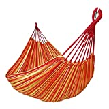 GOCAN Brazilian Double Hammock 2 Person Extra Large Canvas Cotton Hammock for Patio Porch Garden Backyard Lounging Outdoor and Indoor (Orange/Yellow Stripe)
