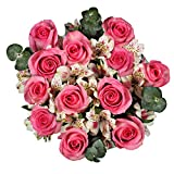 GlobalRose Bouquet Grandiose Roses and Alstroemerias with Greens- Fresh Flower Delivery- Pink and White