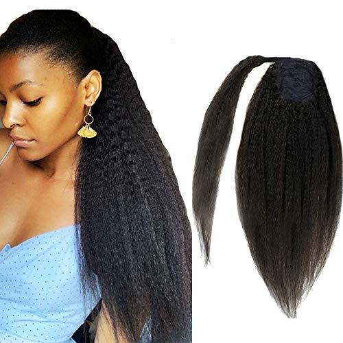 Extension de queue de cheval Synthétique Magic Paste Résistant à la chaleur Afro Kinky Straight Synthetic Wrap Around Ponytail Clip In Hairpiece Corn