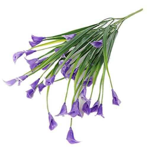 Gzzebo Fleur de lys artificielle en plastique pour la maison, le jardin, le bureau, la fête de mariage, 1 bouquet de 5 branches violet