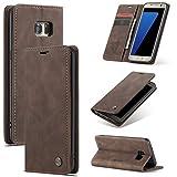 XINYUNEW Funda Compatible para Samsung Galaxy S7 Edge Carcasa con Flip Case Cover Cuero Magnético Plegable Carter Soporte Prueba de Golpes Caso-Café