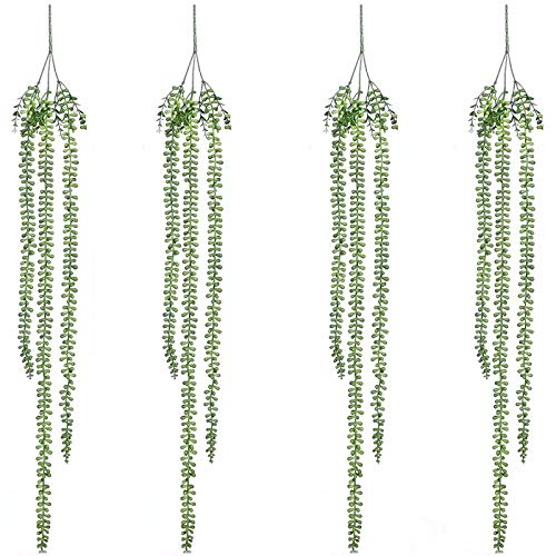 TOOGOO 4 Stücke KüNstliche Sukkulenten H?Ngepflanzen Gef?Lschte Perlenschnur Pflanze Faux Sukkulenten Ungetopften Zweig Liebhaber Tr?NEN Pflanzen