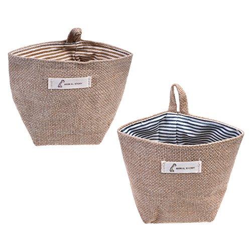 Goldblue 2 Pcs Mini Hanging Storage Bag Cotton Linen Small Storage Basket Decor Bin Bag for Wall Door Closet