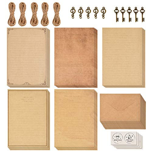 OFNMY 5 Sets of Vintage Stationary Paper + Envelopes, Writing Stationery Paper Letter Set - 20 sheets of vintage letter papers, 10 envelopes, 10 hemp ropes, 10 classic Key, 10 sealing stickers