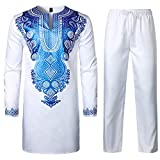 LucMatton Men's African 2 Piece Set Long Sleeve Gold Print Dashiki and Pants Outfit Traditional Suit White Royal Large