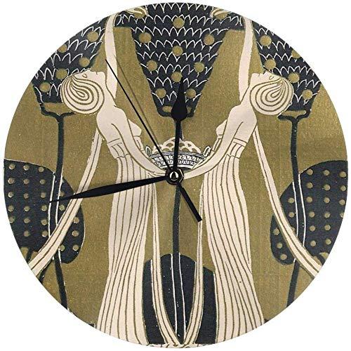 angwenkuanku Damen Jugendstil Runde Wanduhr für Zuhause, Büro, Schule, Deko, 24,9 cm,...