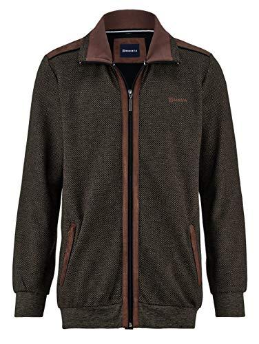 Babista Premium Herren Sweatjacke mit Umlegekragen in Braun aus Baumwolle mit Carbon Finish