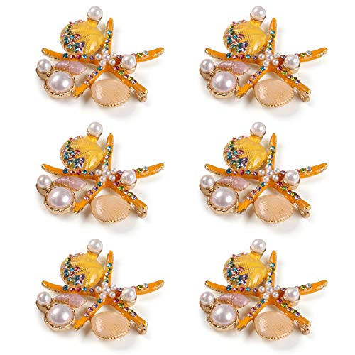 QTKJ Set of 6 Home Metal Starfish Shell Ocean Series Napkin Rings Diamonds Crystal Pearl Napkin Buckles Holder for Wedding,Parties, Dinners, Christmas, Holidays Decor (Yellow)