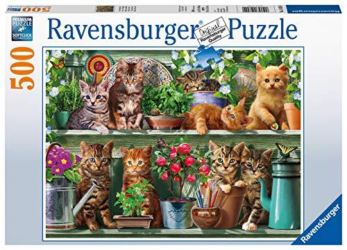 Ravensburger- Gatto sullo Scaffale Puzzle da Adulti, Multicolore, 500 Pezzi, 14824