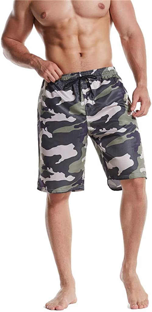 DIOMOR Mens Fashion Camouflage Drawstring Beach Shorts with Pockets Knee Length Camo Swim Trunks Quick Dry Bathing Suits