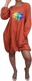 Feelinlin Women's Casual Loose Long Sleeve T-Shirt Dress Lip Printed Round Neck Pocket Midi Dresses