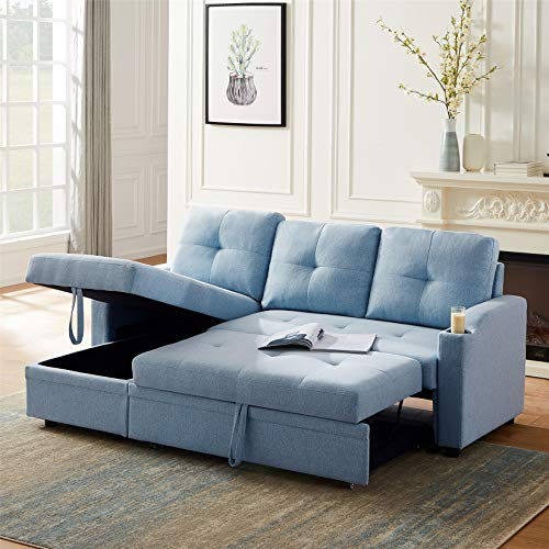 Sectional Sofa Couch Sleeper Pull Out Sofa Bed with Storage Convertible L-Shape Sofa Both Left and Right Handed for Apartment Living Room, (Pillows not Included), Blue