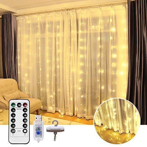MYEMITTING Window Curtain String Lights, 300 LED USB Powered String Lights, 8 Lighting Modes Waterproof Decorative Lights for Bedroom Wedding Party Backdrop Outdoor Indoor Wall Decoration Warm White