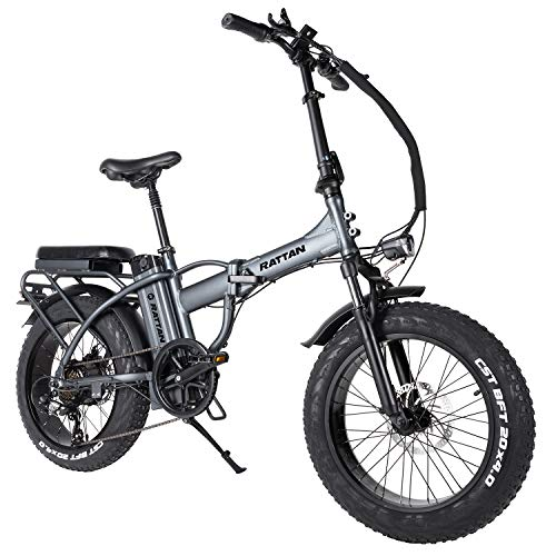 Rattan 48V 500W/750W Electric Bike for Adults Fat Tire Folding Electric Bikes 48V 13AH Removable Lithium Battery E-Bikes 7 Speed Shifter Road Electric Bicycle (LM-750W Gray)