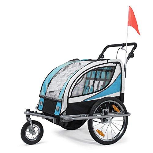 SAMAX Fahrradanhänger Jogger 2in1 360° drehbar Kinderanhänger Kinderfahrradanhänger...