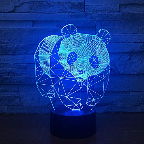 3D Illusion Night Light Cute Panda Led Desk Table Lamp Toy Gifts for Boys Girls 16 Color Touch Lamp Art Sculpture Lights Birthday Gift for Kids Bedroom Decor