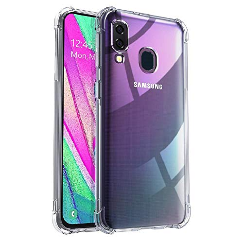REY - Funda Anti-Shock Gel Transparente para Samsung Galaxy A40, Ultra Fina 0,33mm, Esquinas Reforzadas, Silicona TPU de Alta Resistencia y Flexibilidad