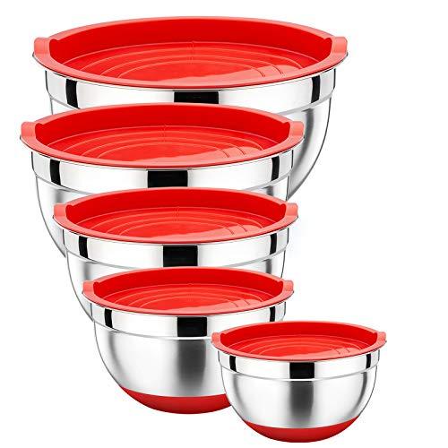 HaWare Rührschüssel 5er-Set, Edelstahl Salatschüssel Schüssel Set mit Deckel und Silikonboden, Stapelbar & Vielseitig, Spülmaschinenfest, 7.6L / 4.7L / 2.8L / 2.4L / 1.4L - Weihnachtsrot