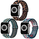 Dsytom 3 Pack Adjustable Elastic Band Compatible with Apple Watch Bands 38mm 40mm Scrunchies Stretchy Leopard Pattern Soft Strap Women Replacement Wristband for iWatch Series SE/6/5/4/3/2/1 Women