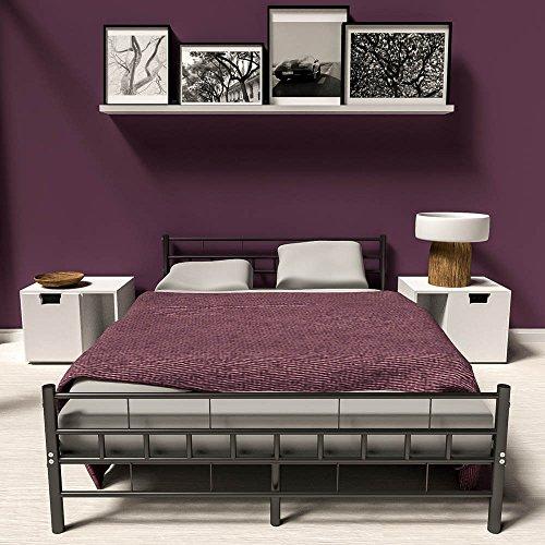 TecTake Lit en métal Design Cadre de lit + sommier à Lattes - diverses modèles - (140x200cm,...