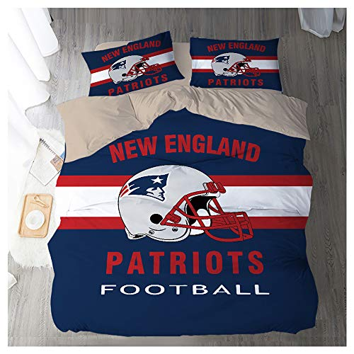 HOXMOMA NFL Bedding Set with New England Patriots Logo, Microfiber Duvet Cover Set and 2 Pillowcases, Perfect Bedding for American Football Fans,Blue,UK 200x200