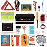 STDY 57-in-1 Car Emergency Roadside Kit, Winter Auto Vehicle Safety Emergency Road Side Assistance Kits with...