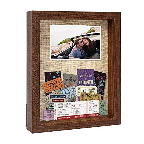 Zmiky 8 x 10 Shadow Box Frames - Shadow Box Display Case for Memorabilia Keepsake with Stick Pins - Memory Shadow Box for Wedding,Baby,Sports Medal,Game Ticket,Picture, Flower, Wood Shadow Box(Walnut)