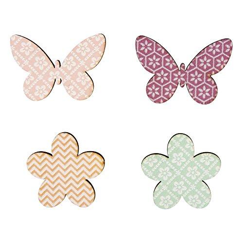 Rayher 46034000 Holz-Streuteile Blumen + Schmetterlinge, 3-4cm, farbl.