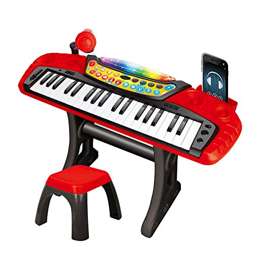 My Music World Electronic Keyboard Toy for Kids - 37 Keys Piano Musical Instruments Set with Lights, Microphone and Stool