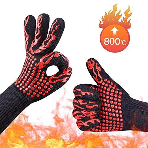 Guantes de Barbacoa Guantes de Horno Resistentes a Altas temperaturas 500-800 Grados Guantes de Horno de microondas con Aislamiento térmico para Barbacoa a Prueba de Fuego-E